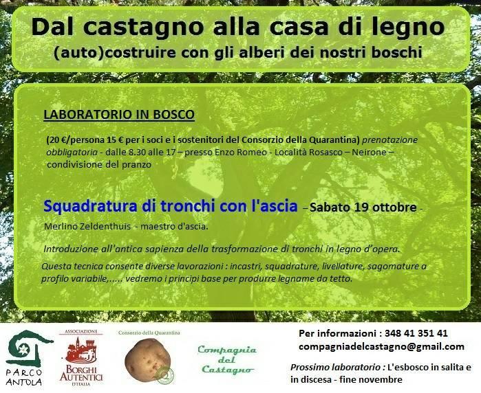 Dal castagno alla casa di legno - Squadratura di tronchi con l'ascia @ Località Rosasco, Neirone GE